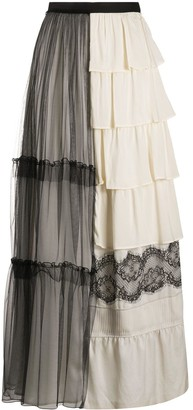 Sueundercover Lace Tiered Long Maxi Skirt