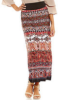 I.N. Studio Romantic Floral Paisley Border Print Pull-On Skirt