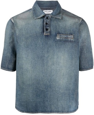 Saint Laurent Distressed-Effect Denim Shirt