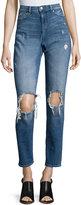 Cheap Monday High-Waist Cropped Boyfriend Jeans, Blue Destroy