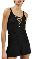 Topshop Women's Lattice Front Romper