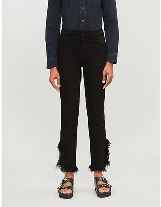J Brand Ruby frayed-hem high-rise jeans