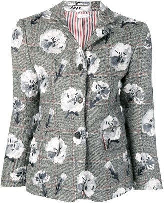 Thom Browne Carnation Embroidered Narrow Sport Coat