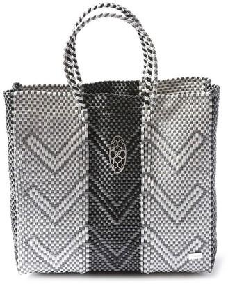 Lolas Bag Medium Gray Chevron Tote Bag
