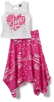 Dollhouse White & Pink Heart Sleeveless Top & Skirt - Girls