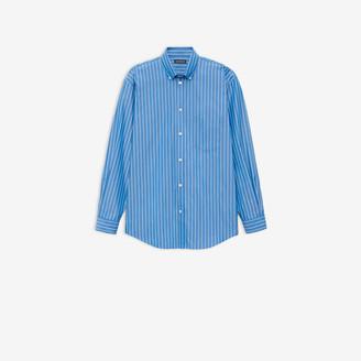 Balenciaga Logo Shirt in blue and white striped cotton poplin