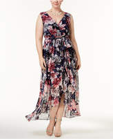 Sangria Plus Size Printed Ruffle Maxi Dress