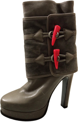Gianmarco Lorenzi Grey Leather Ankle boots