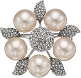 Simulated Pearl & Crystal Flower Pin