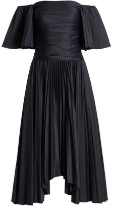 AMUR Rinna Off-The-Shoulder Pleated Midi Dress
