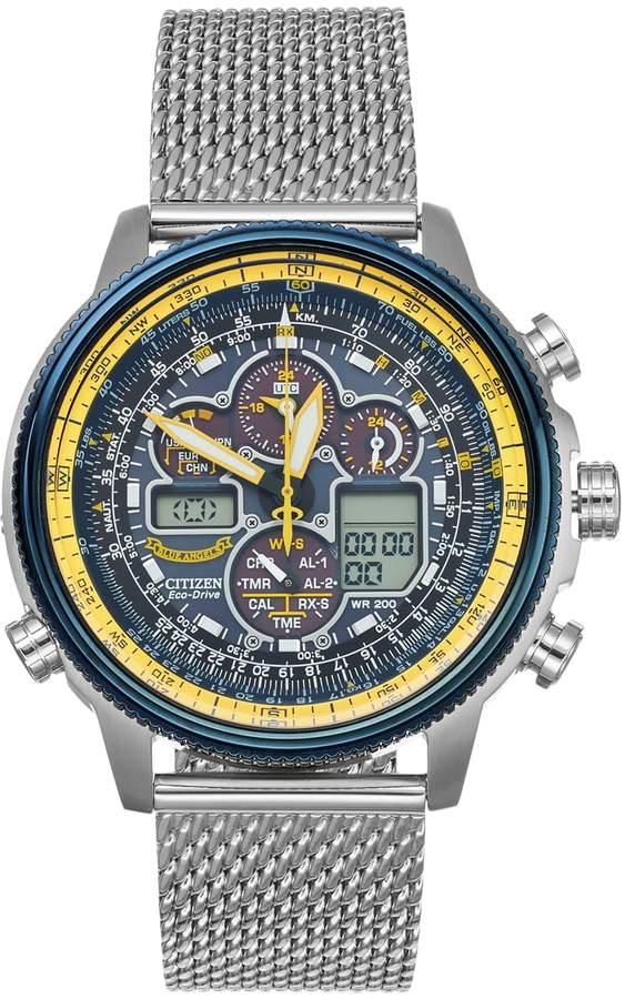 Citizen Eco-Drive Men's Blue Angels Navihawk A-T Stainless Steel Analog-Digital Watch - JY8031-56L