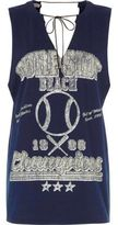 River Island Womens Blue 'surf side beach' tie neck tank top