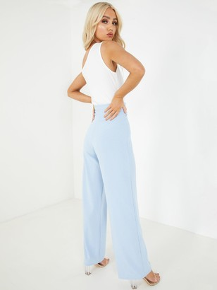 Quiz Scuba Crepe High Waisted Button Palazzo Trousers - Navy