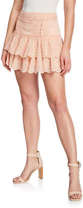 LoveShackFancy Amy Ruffle Eyelet Cotton-Blend Tiered Mini Skirt