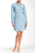 Love Stitch Long Sleeve Rope Shirtwaist Denim Button Dress