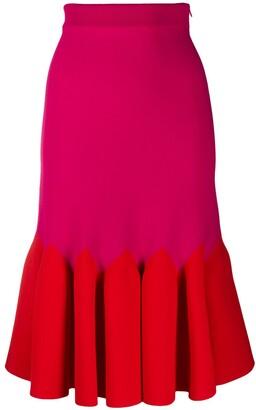 Alexander McQueen Two-Tone Pleated Hem Skirt