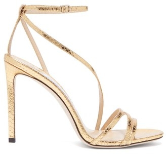 Jimmy Choo Tesca 100 Metallic Lizard-effect Leather Sandals - Gold