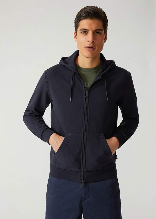 Emporio Armani Stretch Cotton Sweatshirt With Zip And Maxi Print