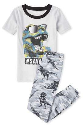 Children's Place The The Childrens Place Boys Short Sleeve '#Savage' Dino Pajama Pant Set(Little Boys and Big Boys)