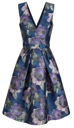 Dorothy Perkins Womens Chi Chi London Blue Printed Midi Skater Dress