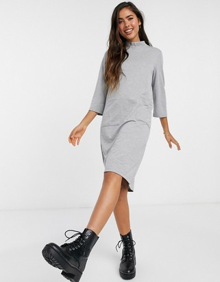 JDY sweat midi dress with high neck in grey