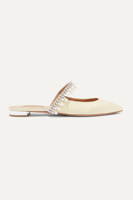 Aquazzura Exquisite Crystal And Faux Pearl-embellished Grosgrain Slippers - Beige