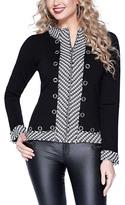 Belldini Black & Silver Stripe Eyelet Zip-Up Cardigan - Women