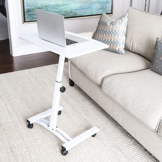 Seville Classics AIRLIFT White Mobile Laptop Computer Desk Cart With Adjustable Height Range 20.5 in to 33 in