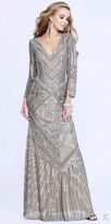 Shail K. Glistening Fully Embellished Long Sleeve Evening Dress