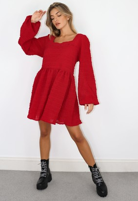 Missguided Burgundy Shirred Textured Smock Dress
