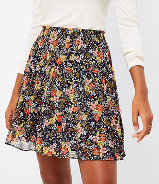 LOFT Tall Floral Tiered Ruffle Pull On Skirt
