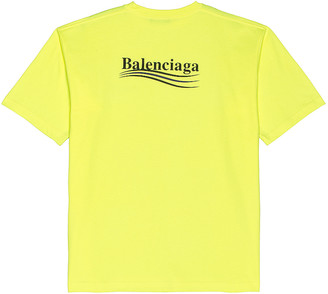 Balenciaga Large Fit Political Tee in Fluo Yellow & Black | FWRD