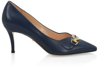 Gucci Mid-Heel Leather Pumps