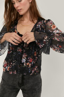 Nasty Gal Womens Lace-Up Your Game Floral Blouse - Black
