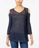 Style&Co. Style & Co. Cold-Shoulder Lace-Trim Top, Only at Macy's