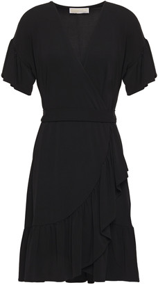 MICHAEL Michael Kors Ruffle-trimmed Stretch-jersey Mini Wrap Dress
