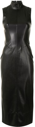 Alexis Farrah leather midi dress