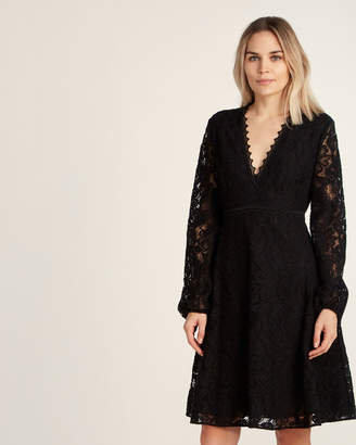 Giamba Black Floral Lace Fit & Flare Dress