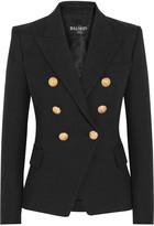 Balmain Double-breasted Basketweave Cotton Blazer - Black