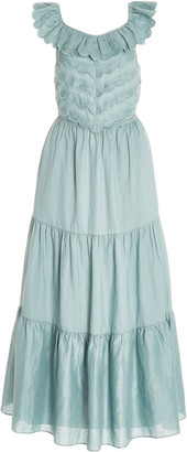 Sea Shannon Scalloped Sleeveless Woven Midi Dress