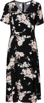 Wallis PETITE Black Floral Print Split Midi Dress