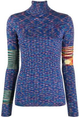 M Missoni Roll Neck Knitted Stripe Top