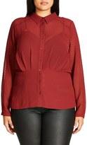 City Chic Snakeskin Textured Chiffon Shirt (Plus Size)
