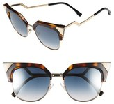 Fendi Women's 54Mm Metal Tipped Cat Eye Sunglasses - Black/ Dark Ruthenium