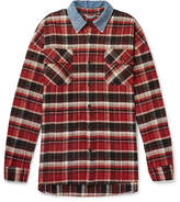 Fear Of God Oversized Denim-trimmed Checked Cotton-flannel Overshirt - Red