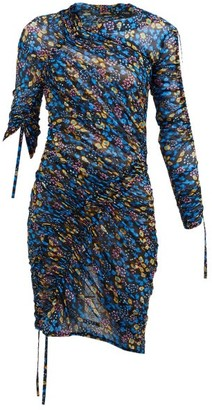 Atlein - Flora-print Ruched Tulle Midi Dress - Womens - Blue Multi