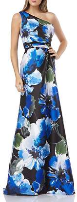 Carmen Marc Valvo Infusion One-Shoulder Floral Printed Gown