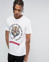 Criminal Damage T-Shirt In White With Tiger Print