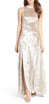 LuLu*s Women's Strappy Back Crushed Velvet Gown