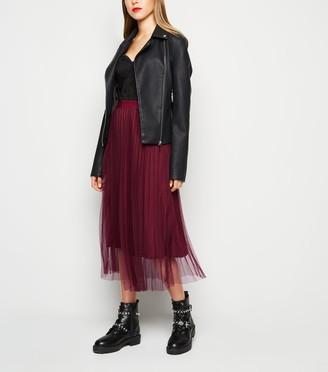 New Look Mesh Pleated Midi Skirt
